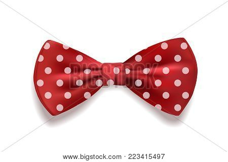 Red bow tie polka dots isolated on white background. Vector illustration