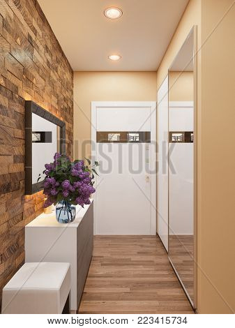 3d illustration of the interior design of an apartment in Scandinavian style. Architectural visualization of the interior hallway in warm colors.
