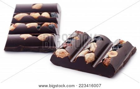 Closeup Of Nutty Chocolate Isolated Over White Background