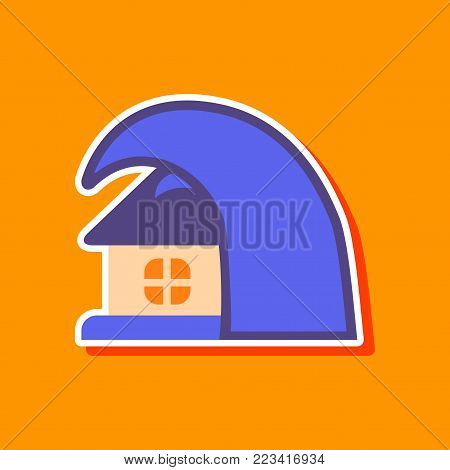 paper sticker on stylish background tsunami house