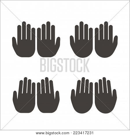 Set of open hands Muslim prayer on white background. Isolated vector illustration.
