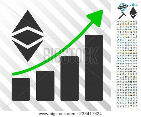 Classic Ethereum Growth Trend pictograph with 700 bonus bitcoin mining and blockchain symbols. Vector illustration style is flat iconic symbols designed for bitcoin apps.
