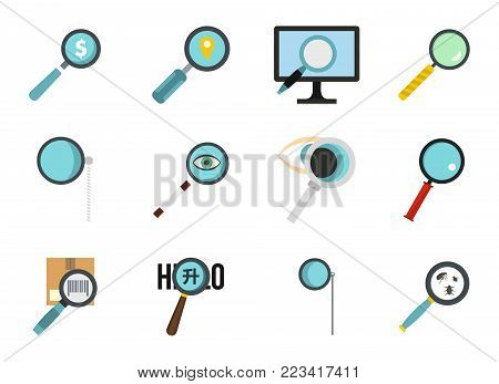 Magnify glass icon set. Flat set of magnify glass vector icons for web design isolated on white background