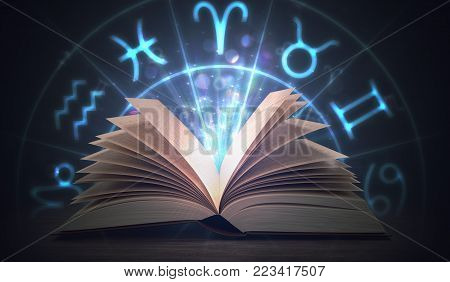 Open Shining Astrology Book With Zodiac Signs Above. 3D Rendered