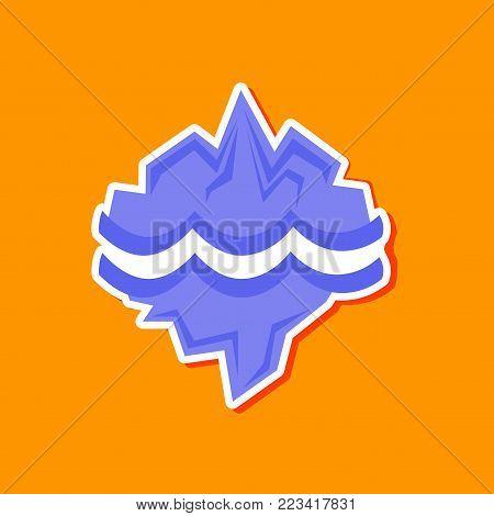 paper sticker on stylish background nature melting glacier