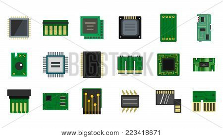 Micro chip icon set. Flat set of micro chip vector icons for web design isolated on white background