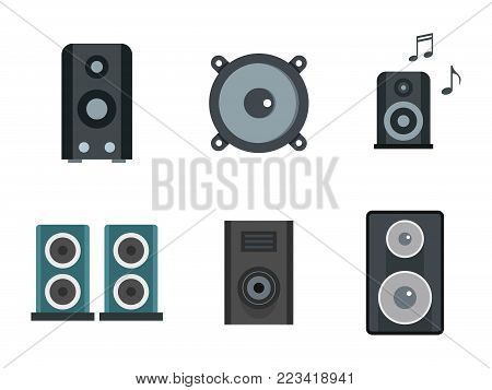 Speaker icon set. Flat set of speaker vector icons for web design isolated on white background