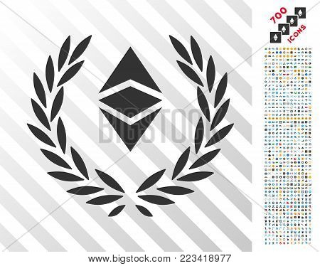 Ethereum Classic Laureal Wreath pictograph with 7 hundred bonus bitcoin mining and blockchain pictograms. Vector illustration style is flat iconic symbols designed for crypto currency websites.