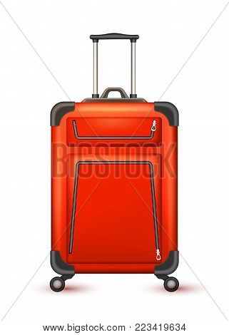Realistic red travelling suitcase, bag. Vector voyage plastic luggage case with handle wheels. Summer holiday vacation 3d trip touristic, journey symbol. Isolated illustration, white background