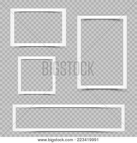White art frames with shadow on transparent background. Modern border shape photo interior furniture framework. Portfolio template graphic