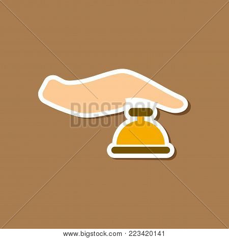 paper sticker on stylish background of hand bell