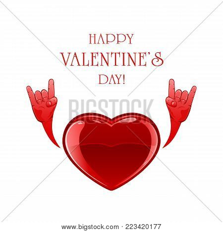 Red Valentine heart with rock and roll hand sign isolated on white background. Text Happy Valentines Day, illustration.