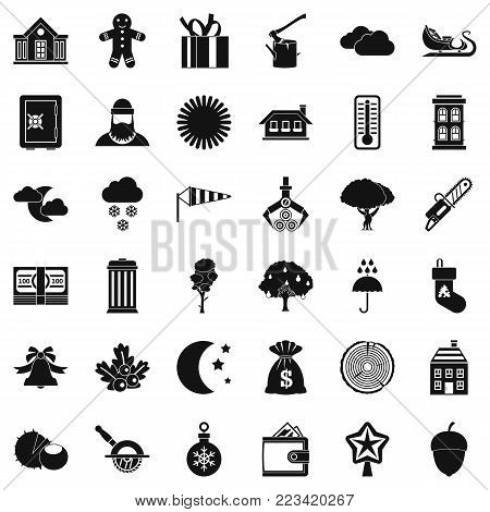 Rural lifestyle icons set. Simple set of 36 rural lifestyle vector icons for web isolated on white background