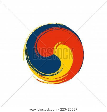 Vector ink imitation illustration: Korean traditional Sam Taegeuk isolated. Tricolored Taegeuk also known as Samtaegeuk is popular variant of Taijitu symbol in Korea.