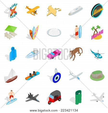 Survive icons set. Isometric set of 25 survive vector icons for web isolated on white background