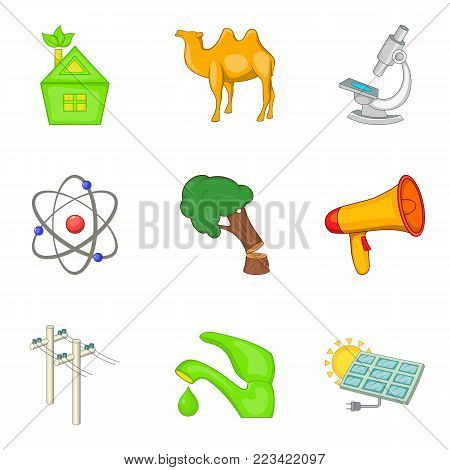 Climate warming icons set. Cartoon set of 9 climate warming vector icons for web isolated on white background