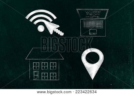 work remotely from home connceptual illustration: wifi and gps location icons next to house and laptop with caption