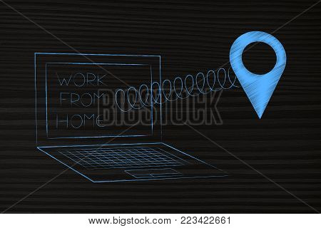 work remotely from home connceptual illustration: laptop with text and GPS location icon popping out of the screen on a spring