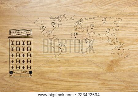 comparing hotel locations online: accommodation building next to world map with GPS pin icons
