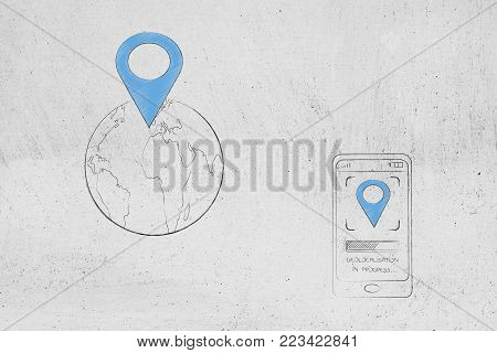 location services technology: GPS icon over world globe next to smartphone with location symbol on screen