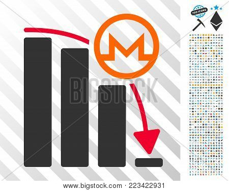 Monero Falling Acceleration Graph pictograph with 700 bonus bitcoin mining and blockchain clip art. Vector illustration style is flat iconic symbols designed for blockchain websites.