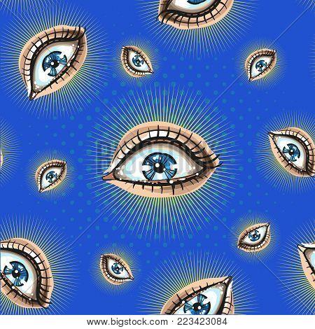 Seamless pattern with creepy eyeballs pop art style