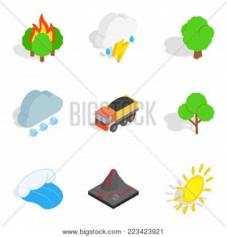 Gas environment icons set. Isometric set of 9 gas environment vector icons for web isolated on white background