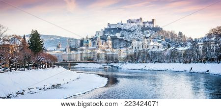 Beautiful view of Salzburg skyline with Festung Hohensalzburg and river Salzach in winter, Salzburger Land, Austria