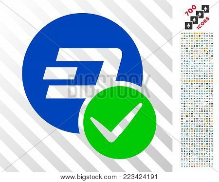 Valid Dashcoin pictograph with 7 hundred bonus bitcoin mining and blockchain pictographs. Vector illustration style is flat iconic symbols designed for crypto-currency apps. poster