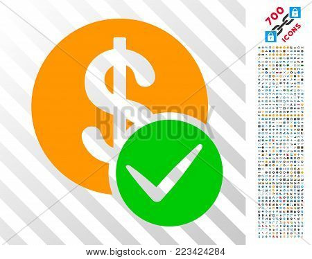 Valid Dollar Coin icon with 700 bonus bitcoin mining and blockchain images. Vector illustration style is flat iconic symbols designed for crypto currency software.