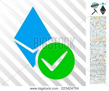 Valid Ethereum Crystal icon with 700 bonus bitcoin mining and blockchain pictures. Vector illustration style is flat iconic symbols designed for bitcoin websites.