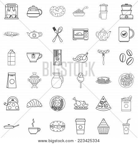 Foodstuffs icons set. Outline set of 36 foodstuffs vector icons for web isolated on white background