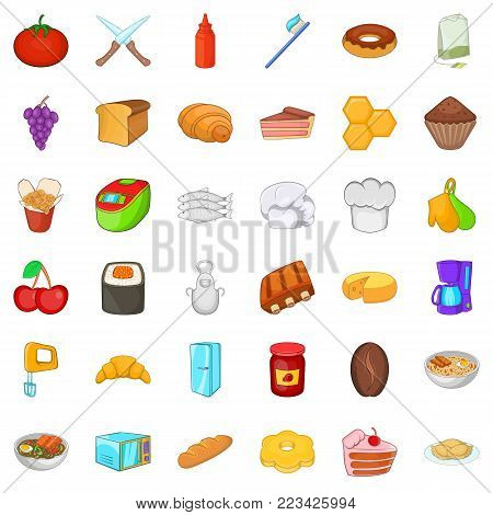 Edible icons set. Cartoon set of 36 edible vector icons for web isolated on white background