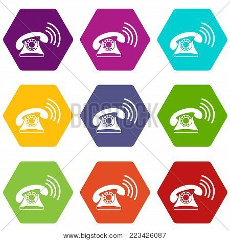 Retro phone icon set many color hexahedron isolated on white vector illustration