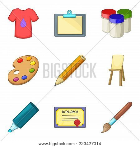 Graphic project icons set. Cartoon set of 9 graphic project vector icons for web isolated on white background