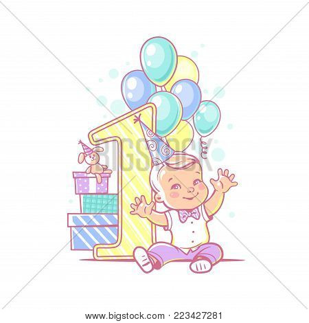 One year boy sitting near large number 1. First year celebration. Little boy's birthday party. Happy boy wearing bow tie and white shirt. Air balloons, gifts, garland. Colorful vector illustration.