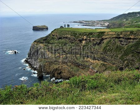 View of the coast of Sao Miguel island near Mosteiros with rocks and sea stacks, The Azores