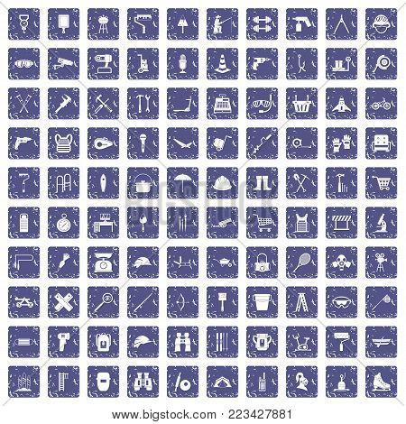 100 tackle icons set in grunge style sapphire color isolated on white background vector illustration