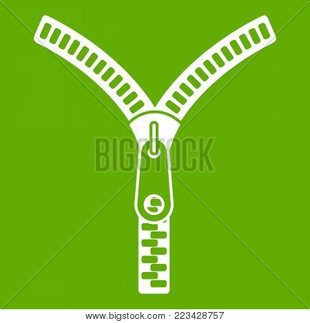 Zipper with lock icon white isolated on green background. Vector illustration