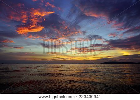beautiful fantastic colorful dramatic sea sunset landscape in Thailand
