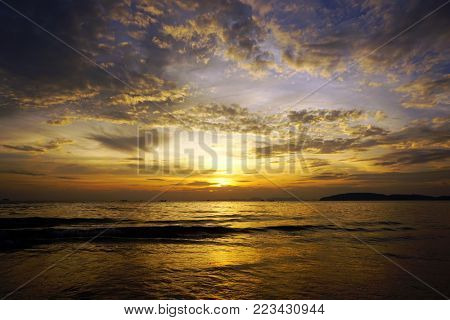 beautiful colorful dramatic sea sunset landscape in Thailand