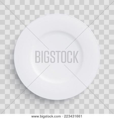 Plate Dish 3D White Round Isolated On Transparent Background. Vector Realistic Porcelain Flat Empty