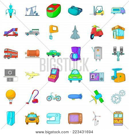 Mechanical icons set. Cartoon set of 36 mechanical vector icons for web isolated on white background