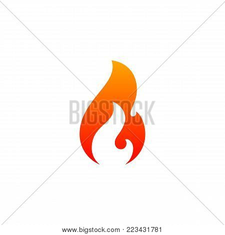 Fire Flame Icon Vector Template. Hot Red Orange Fire Flame For Caution Hot Or Spicy Food. Vector Log