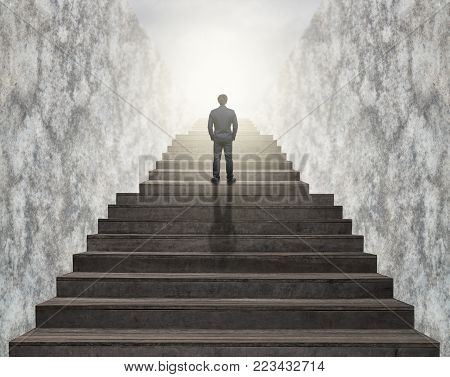 Businessman climbed on top of the stairs ,Success business and Ambitions concept poster
