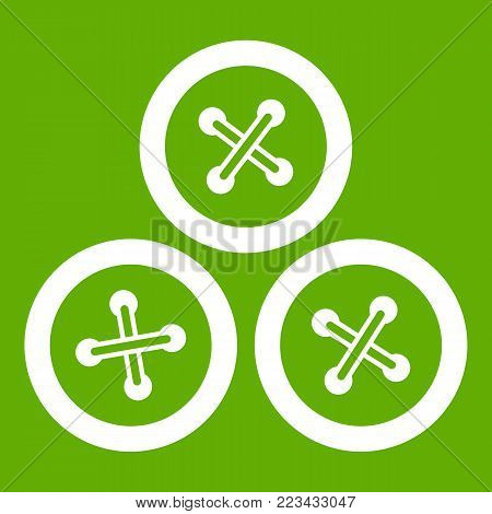 Buttons for sewing icon white isolated on green background. Vector illustration