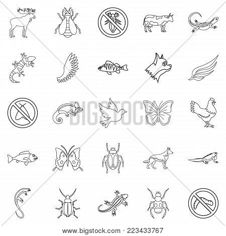 Small animal icons set. Outline set of 25 small animal vector icons for web isolated on white background