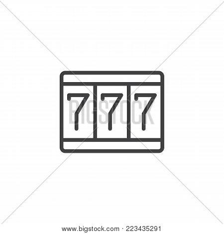 Fortune 777 line icon, outline vector sign, linear style pictogram isolated on white. Triple sevens symbol, logo illustration. Editable stroke
