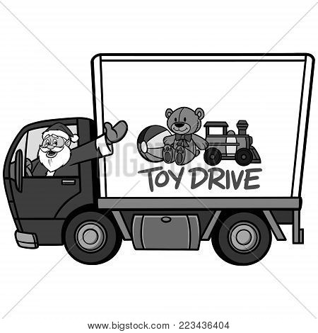 Christmas Toy Drive Illustration - A vector cartoon illustration of a Christmas Toy Drive concept.