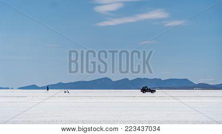 Salar de Uyuni, Bolivia - September 2017: Uyuni Salt Flat world's largest salt flat